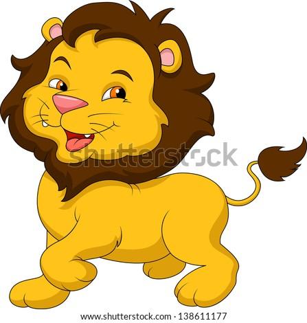 Cute lion cartoon - stock vector