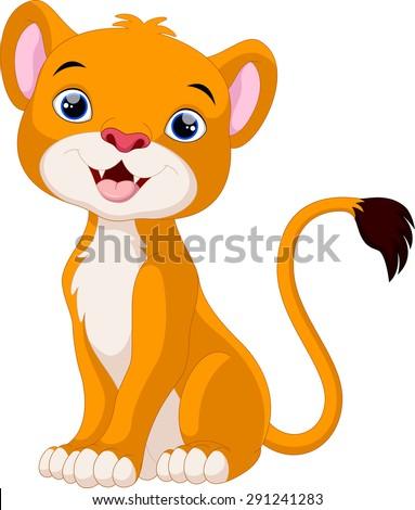 Cute lion cartoon sitting - stock vector