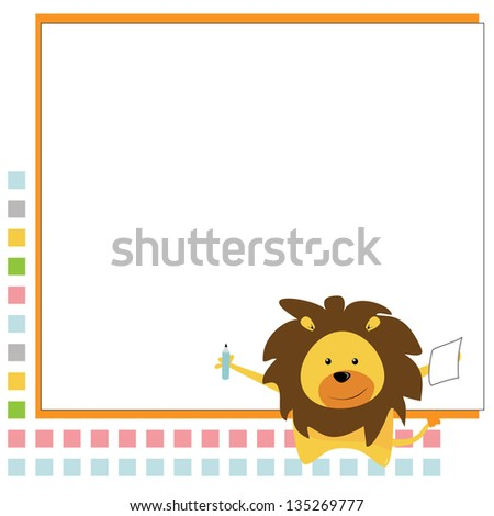 cute lion with background - stock vector