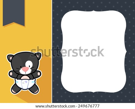 cute little baby black cat with diaper, black and white outline like a sticker and blank space for your birth announcement text, picture or invitation with decorative frame - stock vector