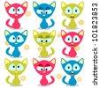 Cute little baby kittens set - stock vector
