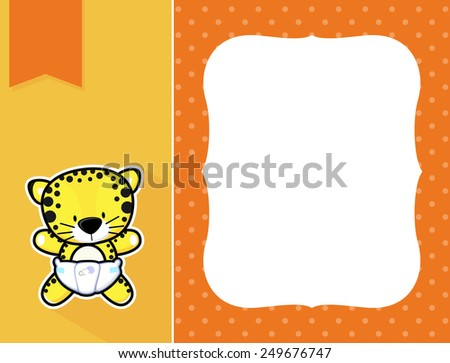 cute little baby leopard with diaper, black and white outline like a sticker and blank space for your birth announcement text, picture or invitation with decorative frame - stock vector