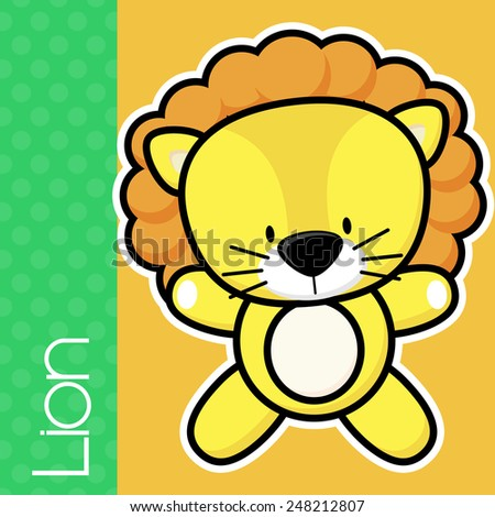cute little baby lion and text on solid color background with black and white outline for easy isolation - stock vector