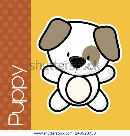 cute little baby puppy and text on solid color background with black and white outline for easy isolation - stock vector
