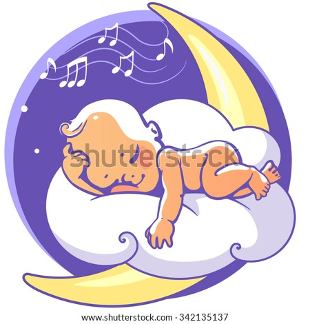 Cute little baby sleeping on moon listen lullaby. Colorful vector illustration. Smiling cartoon kid lying on cloud as soft pillow. Child resting at night. Kid sleeping on stomach Baby shower card. - stock vector