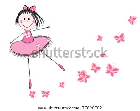 Cute little ballerina in pink dress - stock vector