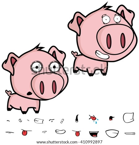 cute little big head pig cartoon set in vector format very easy to edit - stock vector