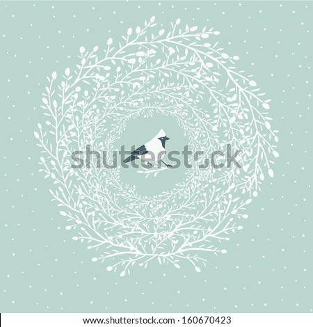 Cute little bird in Christmas wreath - stock vector