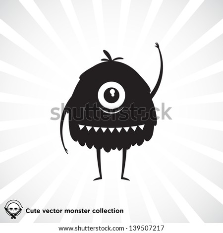 Cute little black monster for Halloween, scrapbooking etc. - stock vector