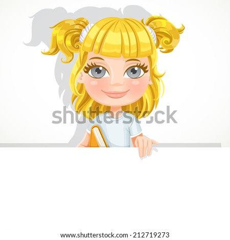 Cute little blond girl with textbook hold big white banner - stock vector