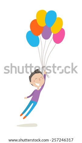 Cute little boy flies with colorful balloons, flat illustration, vector character, isolated on white background. - stock vector