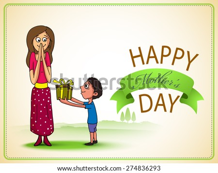 Cute little boy giving a gift box to his mother on occasion of Happy Mother's Day celebration, can be used as greeting card or invitation card. - stock vector