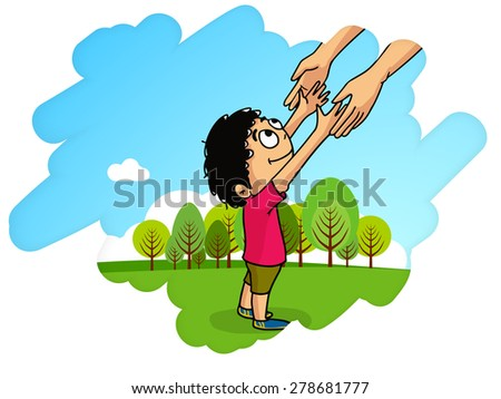 Cute little boy holding his father hand, showing love towards his father on nature background, Happy fathers day celebrations concept.  - stock vector