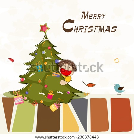 Cute little boy holding X-mas tree on occasion of Merry Christmas celebration. - stock vector