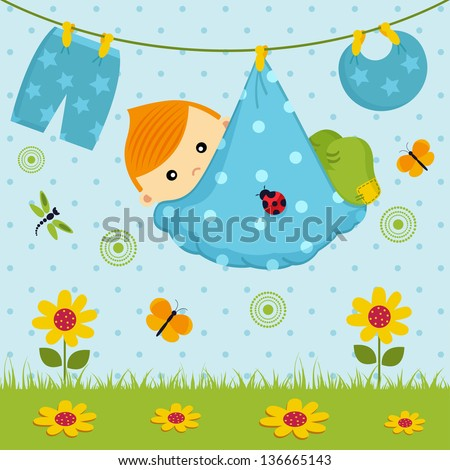 cute little boy in diaper/baby boy  in a diape - stock vector