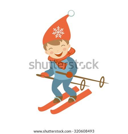 Cute little boy skiing. Illustration in vector format - stock vector