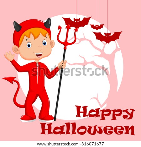 Cute little boy wearing a red devil costume - stock vector