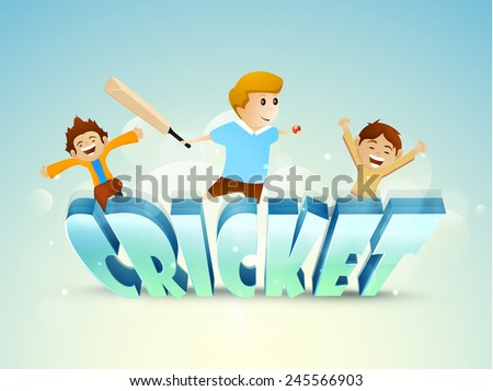 Cute little boys enjoying with bat, ball and 3D text Cricket on sky blue background. - stock vector