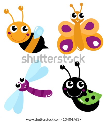 Cute little cartoon bugs isolated on white - stock vector