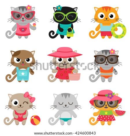 Cute little cat girls and boys. Vector illustration - stock vector