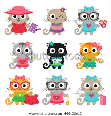 Cute little cat girls with different hobbies and leisure activities - stock vector