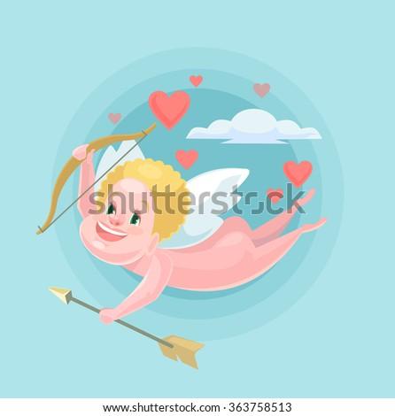 Cute little cupid. Vector flat illustration - stock vector