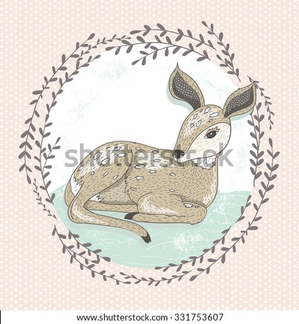 Cute little deer illustration.  - stock vector