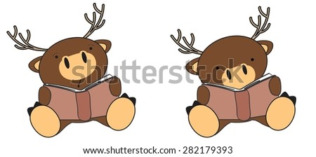 cute little deer reading cartoon set in vector format very easy to edit - stock vector