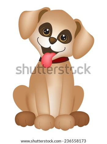 Cute little dog / puppy illustration isolated on white background - stock vector