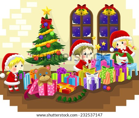 Cute little elves are celebrating Christmas, create by vector - stock vector