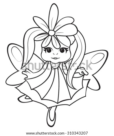 Cute little fairy girl - coloring page for kids - stock vector