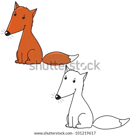 Cute little fox, contour and color version coloring book - stock vector