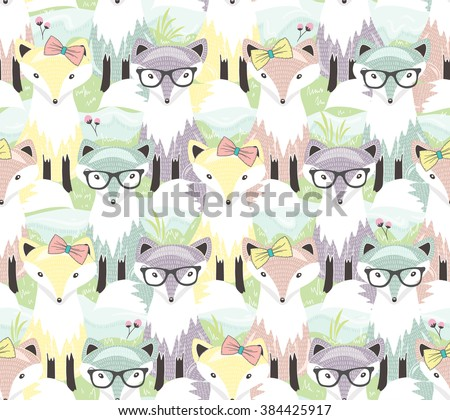 Cute little fox seamless pattern. Background with animals for children or kids. - stock vector