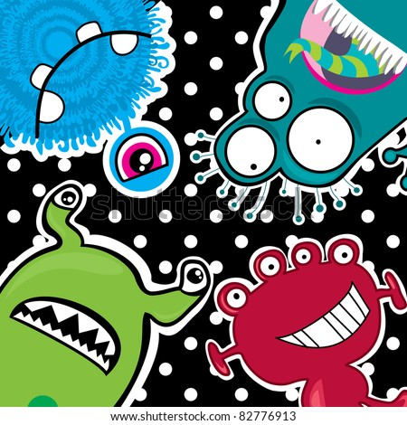 cute little funny monsters - stock vector
