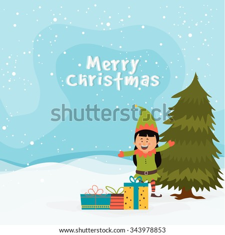 Cute little girl enjoying and celebrating with colorful gifts on winter background for Merry Christmas. - stock vector