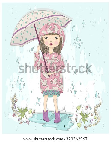 Cute little girl holding umbrella. Autumn background with rain, leafs and puddle. Illustration for kids or children. - stock vector
