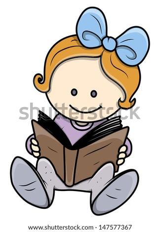 Cute Little Girl Reading a Book - Vector Illustrations - stock vector