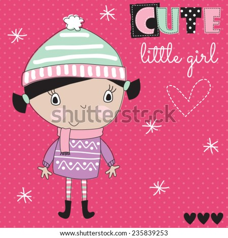 cute little girl vector illustration - stock vector