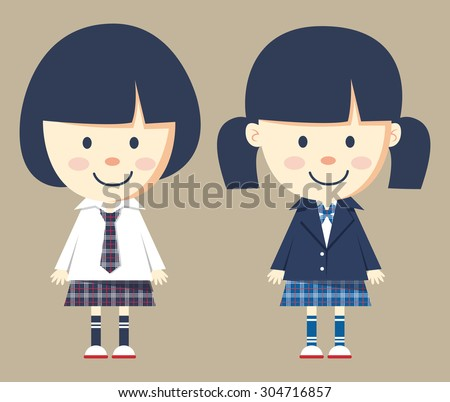 cute little girl wearing school uniform - stock vector