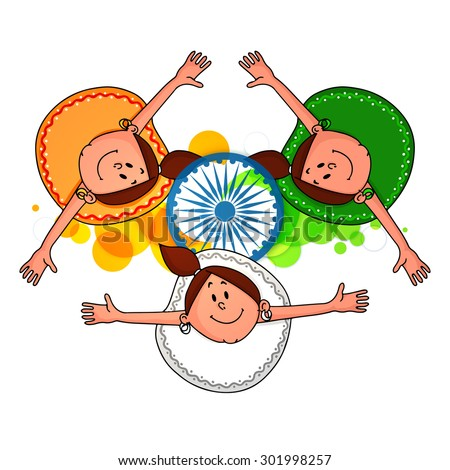 Cute little girls in tricolor dress, enjoying and celebrating Indian Independence Day. - stock vector