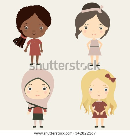 Cute little girls of different nationalities and races.Vector illustration - stock vector