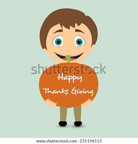 Cute little happy boy holding a big pumpkin on green background for Happy Thanksgiving Day celebrations.  - stock vector