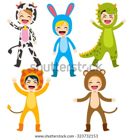 Cute little happy children wearing animal costume - stock vector