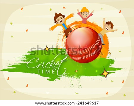 Cute little kids enjoying on glossy red ball with national flag colors for Cricket on stylish background.  - stock vector