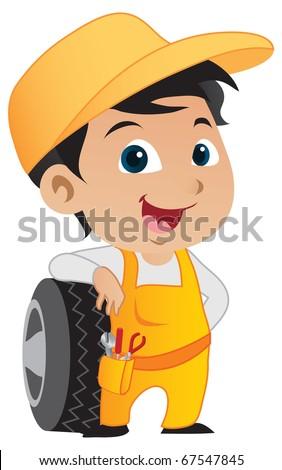 Cute little mechanic boy leaning against a car's tire. - stock vector