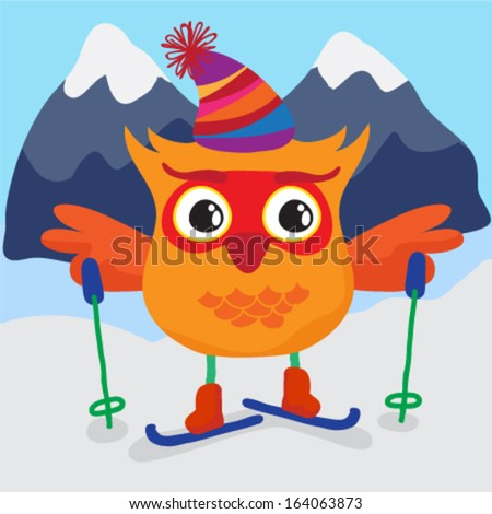 Cute little owl skiing. Vector illustration - stock vector