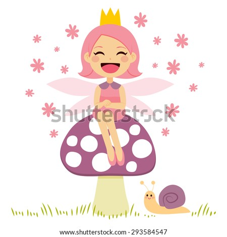 Cute little pink fairy sitting on mushroom and snail friend - stock vector