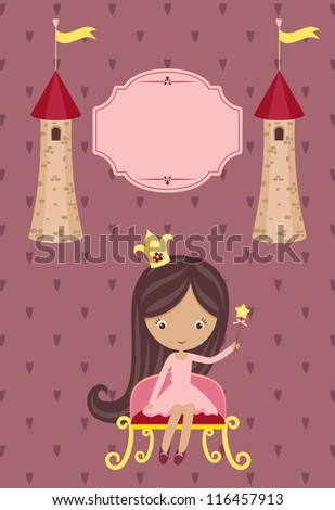 Cute little princess on purple background with blank signboard and two towers - stock vector