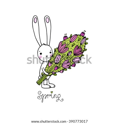 "Cute little rabbit with a bouquet. ""Spring"" text. Hand drawing isolated objects on white background. Vector illustration. - stock vector"
