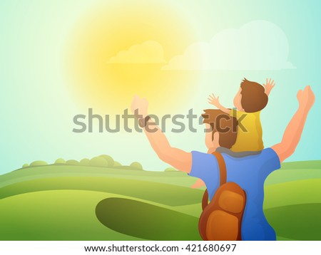 Cute little son sitting on his father shoulder on beautiful nature background for Happy Father's Day celebration. - stock vector
